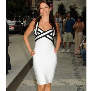 Herve Leger Iconic White and Black Dress size S